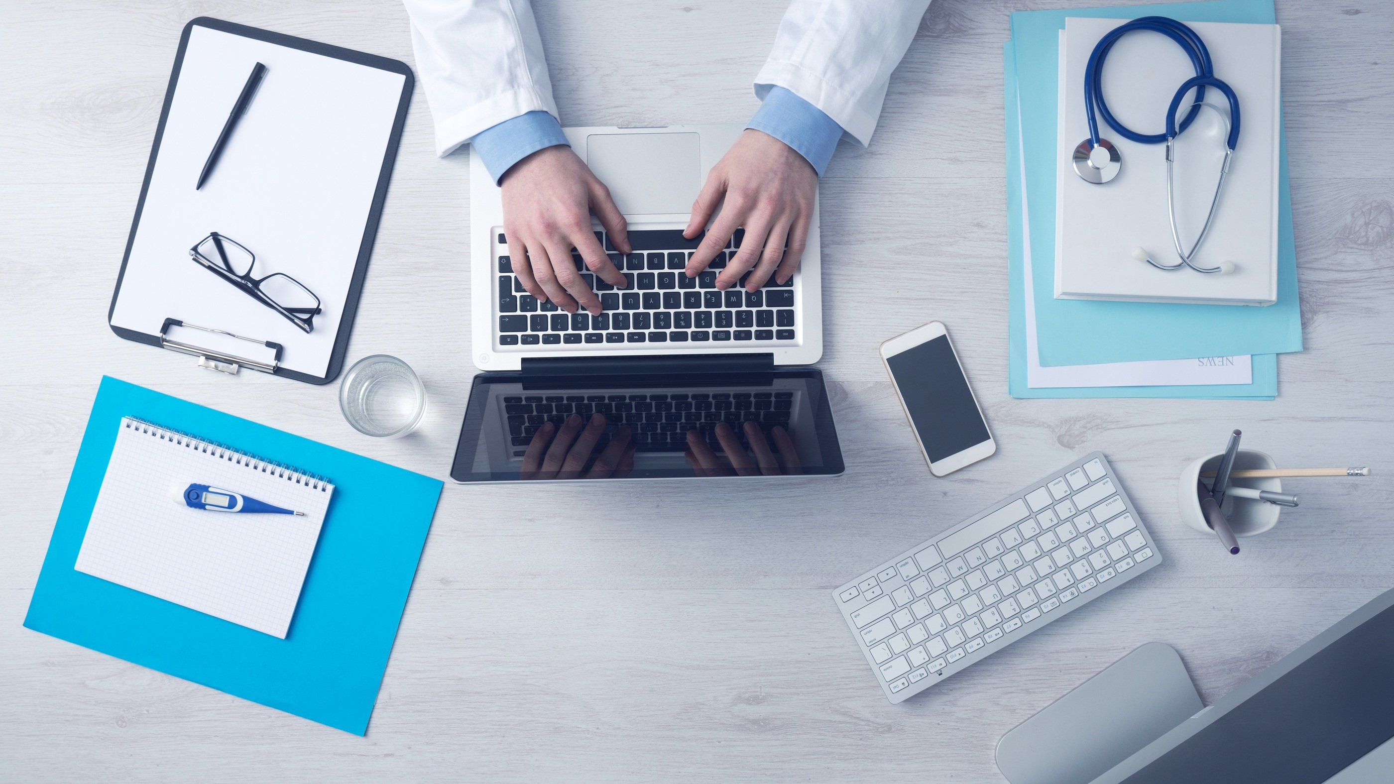 doctor with technology devices related to medical profession