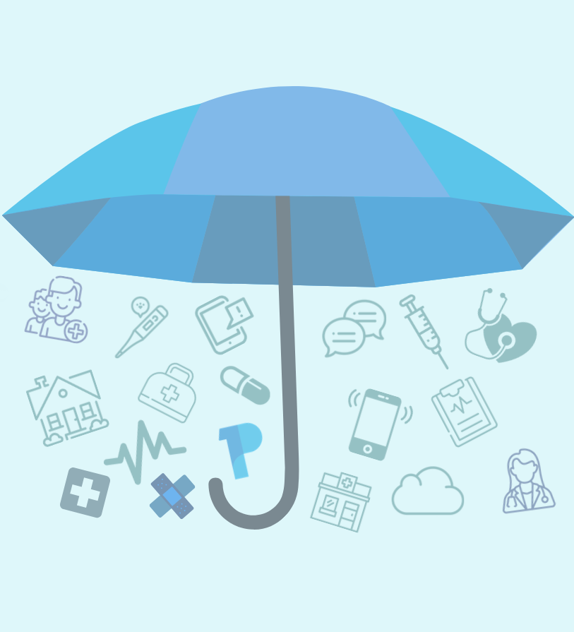 image of umbrella showing all health devices connected under same roof